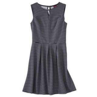 Merona Womens Textured Sleeveless Keyhole Neck Dress   Navy/White   XL