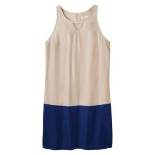Merona Womens Colorblock Hem Shift Dress   Beige/Waterloo Blue   14