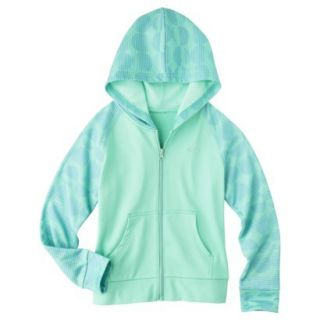 C9 by Champion Girls Tech Fleece Full Zip Hoodie   Spring Green M