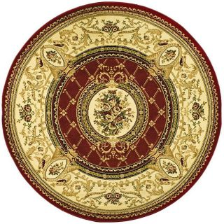 Lyndhurst Collection Traditional Red/ Ivory Rug (8 Round)