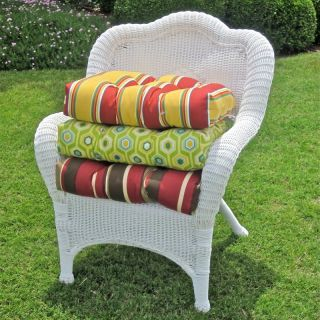 Blazing Needles 19 x 19 Solid Outdoor Wicker Chair Cushion Lime   93182 SOL REO