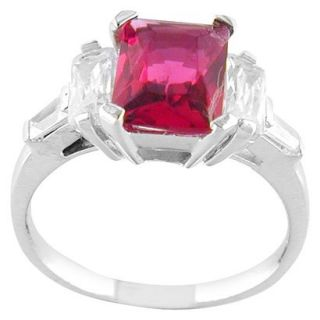 Hot Pink Silver Plated Square Ring   9.0