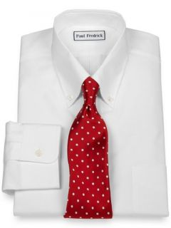 Paul Fredrick Mens 2 Ply Cotton Broadcloth Button Down Collar Button Cuff Trim
