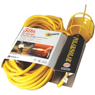 Coleman Cable Yellow Trouble Light (YellowBulb type IncandescentVoltage 125 voltsAmps 15 ampsConductor Size 114/3 AWGCable markingSJEOCord length 25 feetGuard material Vinyl coated metal )