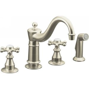 Kohler K 158 3 BN Antique Two Handle Kitchen Faucet with Sidespray