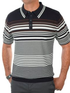 Paul Fredrick Mens 100% Cotton Stripe Polo Collar Short Sleeve Sweater