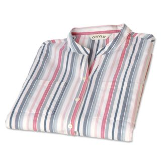Care free Band collar Striped Shirt