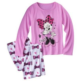 Disney Minnie Mouse Girls 2 Piece Long Sleeve Pajama Set   White/Pink S