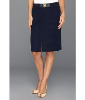 Anne Klein Petite Belted Skirt Womens Skirt (Navy)