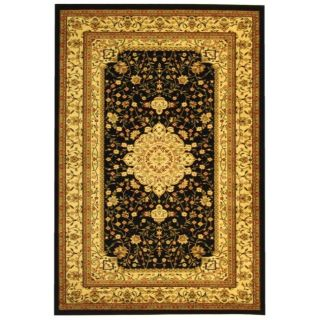 Lyndhurst Collection Mashad Black/ Ivory Rug (4 X 6)