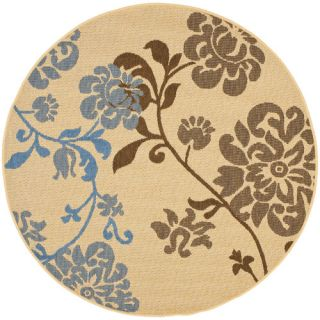 Safavieh Courtyard Natural Brown/Blue Rug CY4027B Rug Size 53 Round