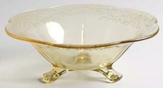 Fostoria June Topaz/Yellow 6 3 Toed Footed Bowl   Stem #5098, Etch #279, Yellow