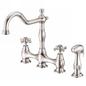 Danze D404557PNV Opulence Two Handle Bridge Kitchen Faucet With Side Spray