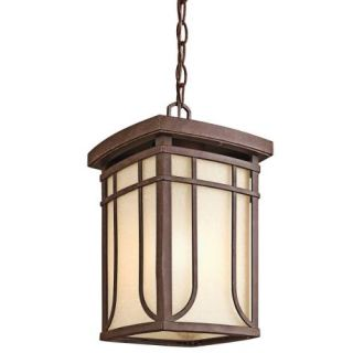 Kichler 49152AGZ Outdoor Light, Arts and Crafts/Mission Pendant 1 Light Fixture Aged Bronze