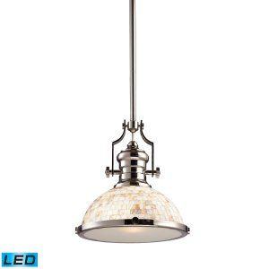 ELK Lighting ELK 66413 1 LED Chadwick 1 Light Pendant Polished Nickel And Cappa