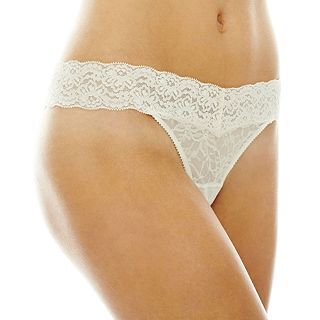 THE BODY Elle Macpherson Intimates Stretch Lace Thong Panties, Pristine