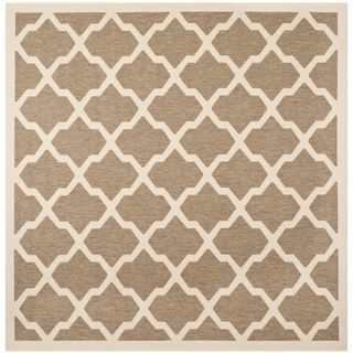 Safavieh Indoor/ Outdoor Courtyard Brown/ Bone Rug (53 Square)