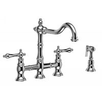 Riobel BR400L BN Bridge Two Handle Bridge Kitchen Faucet with Side Spray