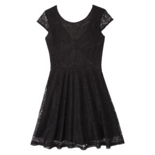 Xhilaration Juniors Open Back Lace Dress   Black S(3 5)