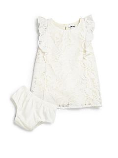 DKNY Infants Two Piece Lace Dress & Bloomers Set   Vanilla