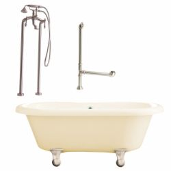 Giagni LP2 BN B Portsmouth Cannonball Foot Dual Tub, Floor Mount Faucet with Han