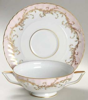 Royal Tettau Elegance Rose(Pink,Gold Trim) Footed Cream Soup Bowl & Saucer Set,