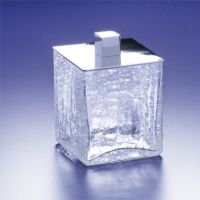 Windisch 88128 Sni Universal Box Crackled Crystal Glass Q Tip Jar