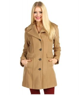 Cole Haan Wool Plush Single Breasted Coat Womens Coat (Tan)