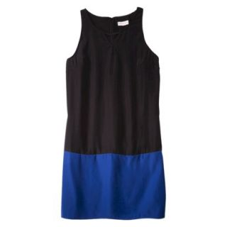 Merona Womens Colorblock Hem Shift Dress   Black/Waterloo Blue   XL