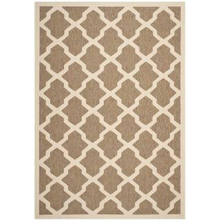 Contemporary Safavieh Indoor/ Outdoor Courtyard Brown/ Bone Rug (4 X 57)