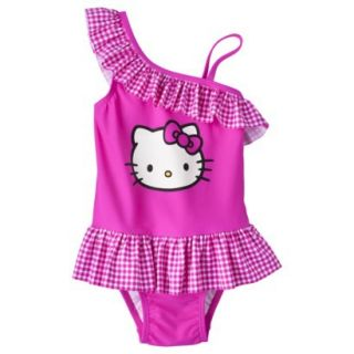 Hello Kitty Toddler Girls Asymmetrical 1 Piece Swimsuit   Pink 4T