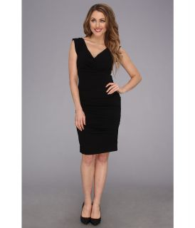 Nicole Miller V Neck Satin Crepe Dress Womens Dress (Black)