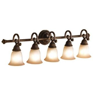 Kichler 5217TZG Bathroom Light, Transitional Bath Strip 5Light Fixture Tannery Bronze w/ Gold Accent