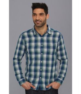 Lucky Brand Whistler Plaid One Pocket Shirt Mens Long Sleeve Button Up (Blue)