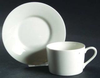 Christopher Stuart Cosmopolitan White Flat Cup & Saucer Set, Fine China Dinnerwa