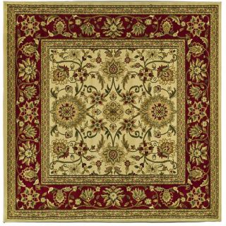 Lyndhurst Collection Majestic Ivory/ Red Rug (8 Square)
