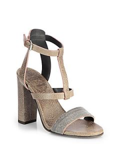 Brunello Cucinelli Monili Beaded Leather Sandals   Taupe