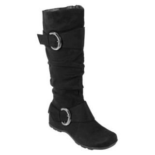 Womens Bamboo By Journee Slouchy Buckle Boots   Black 8W