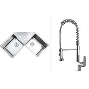 Ruvati RVC1561 Combo Stainless Steel Kitchen Sink and Chrome Faucet Set