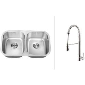 Ruvati RVC2526 Combo Stainless Steel Kitchen Sink and Chrome Faucet Set
