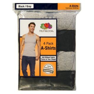 Fruit of the Loom Mens A Shirts 4 Pack   Black/Grey XL