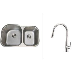 Ruvati RVC2552 Combo Stainless Steel Kitchen Sink and Chrome Faucet Set