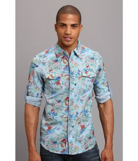 Fresh Brand Rolled up Long Sleeve Shirt w/ Color Effect Mens Long Sleeve Button Up (Blue)