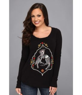 Lucky Brand Toucan Embroidered Tee Womens Long Sleeve Pullover (Multi)