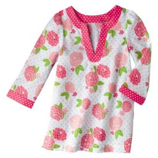 Circo Infant Toddler Girls Long Sleeve Floral Cover Up   White/Coral 18 M