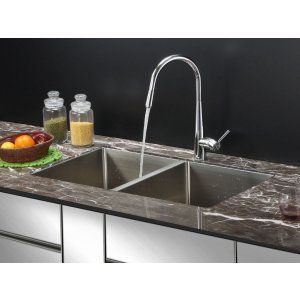 Ruvati RVC2312 Combo Stainless Steel Kitchen Sink and Chrome Faucet Set