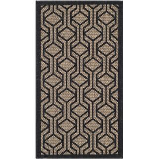 Safavieh Indoor/ Outdoor Courtyard Brown/ Black Rug (2 X 37)