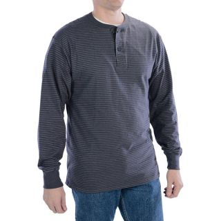 Hanes Henley T Shirt   Cotton  Long Sleeve (For Tall Men)   DARK GREY STRIPE (2XL )