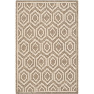 Safavieh Indoor/ Outdoor Courtyard Brown/ Bone Polypropylene Rug (8 X 11)