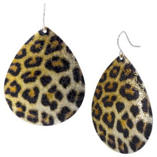 Leopard Print Teardrop Shaped Earring   Gold